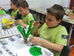 Pintura do ananás e maçã pelos alunos.